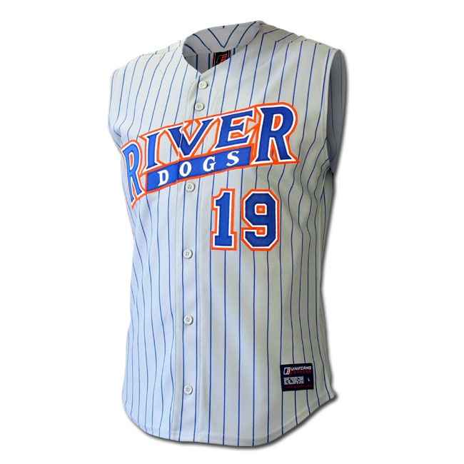 f449b9147b 01104-5 Pro-weight polyester sleeveless baseball jerseys with woven  pin-stripes