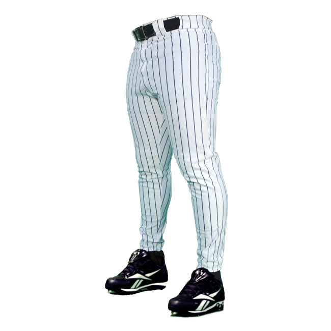 01201-2 White pro-weight polyester baseball pants with woven pin stripes 97d4eec9054f